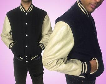 Vintage Leather Sleeve Varsity Jacket.