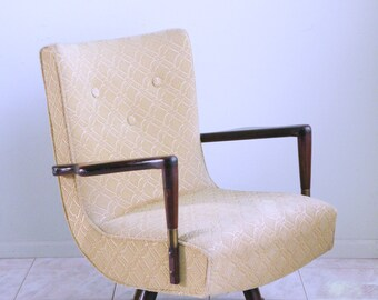 40s 50s mid century modern walnut cantilever ATOMIC ROCKER SWIVEL arm chair