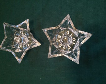 Pair of Vintage Glass Star Candle Holders