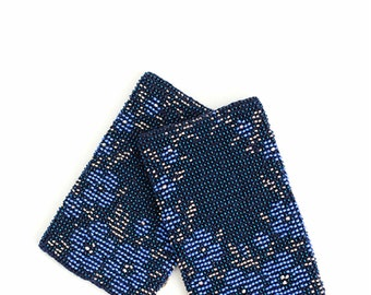 Beautifull beaded blue color Wrist Warmers / Arm Warmers / Knit Hand Warmers