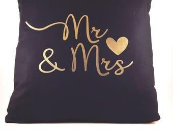 Mr & Mrs Cushion Cover