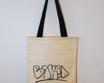 Baked Tote bag with original screen printed illustration and outside pocket