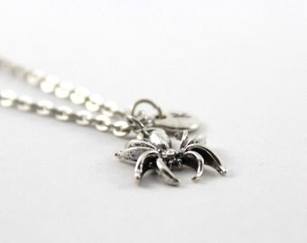 SPIDER charm necklace, silver tone spider necklace, initial necklace, charm necklace, initial jewelry, personalized jewelry, gift for her