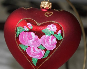 Glass heart, Hand blown & Hand painted, Pink roses, Glass ornament , Decoration, Gift idea, Valentines Gift, Wedding, Hand decorated, unique