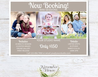 Mini Sessions Template, Now Booking, All Purpose Photography Template, Universal Photoshop Card, 5x7 Flat Card, PSD File, Instant Download
