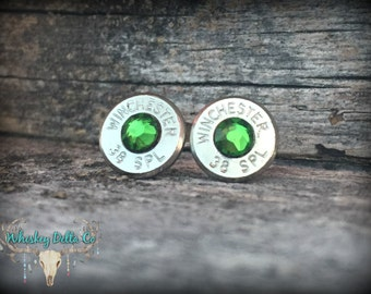 Personalized Winchester Stud Earrings - 38 Special - Silver Bullet Jewelry - Country Bridesmaids - Handgun Accessories - Birthstone Gifts