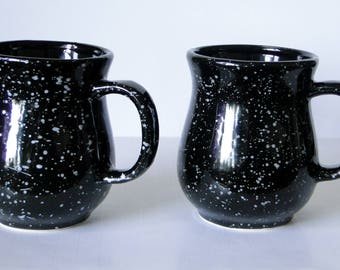 Set of Two, Black, Granite, Speckled, Stoneware, Coffee Mugs, Vintage, Made in Taiwan