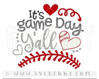 Its Game Day Yall SVG Baseball SvG / baseball shirt cap hat tee wreath / baseball mom shirts /  love baseball / cut files cutting files / Bg