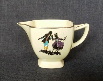 Vintage Creamer, Courting Couple, Silhouette