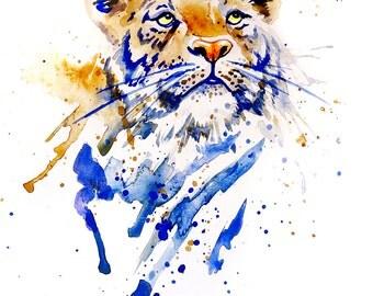 Original Tiger Watercolour Print, Tiger Print, Watercolor Tiger Print, Tiger Art, Tiger Wall Art, Tiger Poster, Tiger print