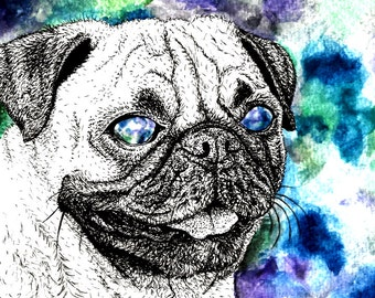 Pugs On Drugs, art print, fineliner and watercolour