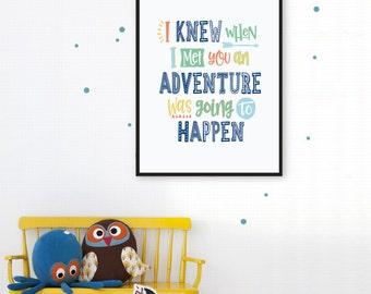 Winnie the Pooh Nursery Quote,  I Knew When I Met You Adventure Nursery Decor Playroom Decor Children's Wall Art Print Printable Nursery Art