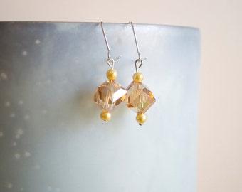 Champagne Crystal Dangle Earrings