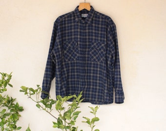 Navy Blue Vintage Checked Flannel Shirt - Size Extra Large
