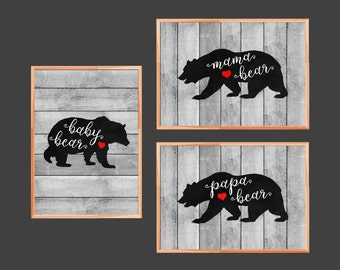 Bear Family Prints, Woodland Print Set, Woodland Nursery Set, Nursery Print Set, Set of 3 Prints, Printable Art, Instant Download