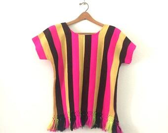 Fluorescent Circus Striped Poncho