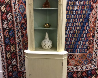 SALE!! Tall wooden corner cupboard unit painted in cream and laurel green with key lock door