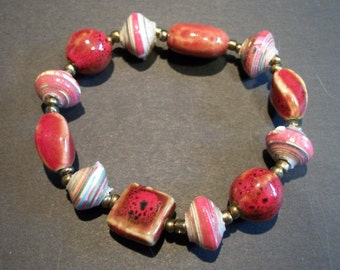 Handmade Stretchy Haitian Beaded Bracelet with Large Red Glazed Ceramic Beads and Colorful Upcycled Paper Beads
