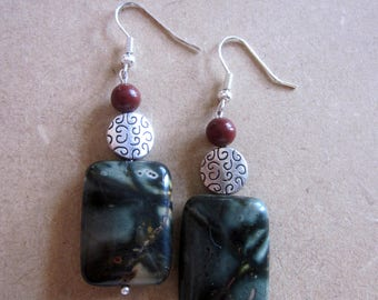 Green Picasso Jasper Rectangle Earrings Picasso Jasper Earrings Artistic Jasper Earrings Red Creek Jasper Picture Jasper