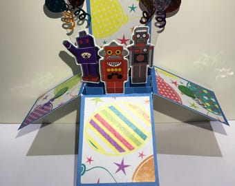 Robot pop up box card*Happy birthday pop up card*kids fun pop up card*birthday pop up card for son*Party invites