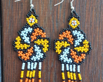 Handmade Spiral Huichol earrings