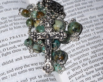 Anglican Rosary Protestant Prayer Beads Episcopal Necklace Handmade (Green) Crucifix