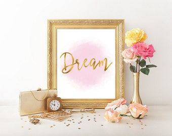Dream, Dream Print, Gold Letter Print, Gold Bedroom Decor, Gold Typography,