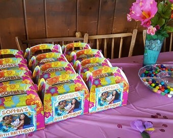 Moana Favor Box Labels Stickers Personalized