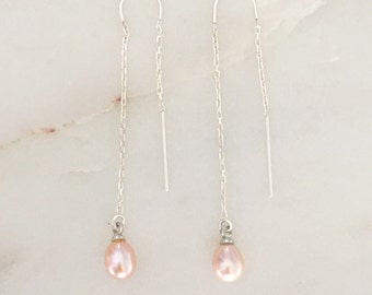 Freshwater Pearl Earrings 6-7mm Pink/Violet Pearls, Bridesmaid Earrings