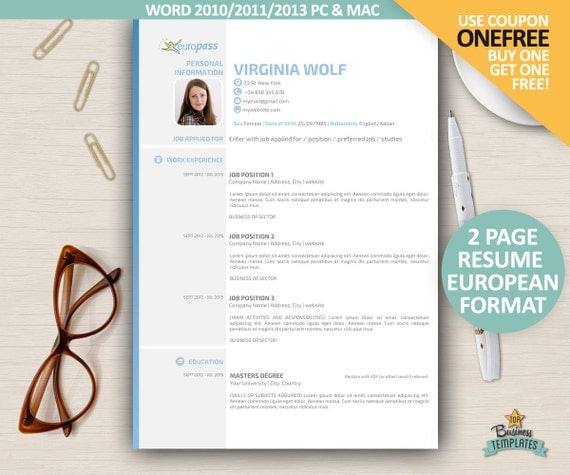 curriculum vitae europass cv template european format resume