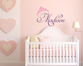 Beau Girls Name Wall Decal  Princess Wall Decal  Personalized Name Wall Decal  Girls Room Bedroom