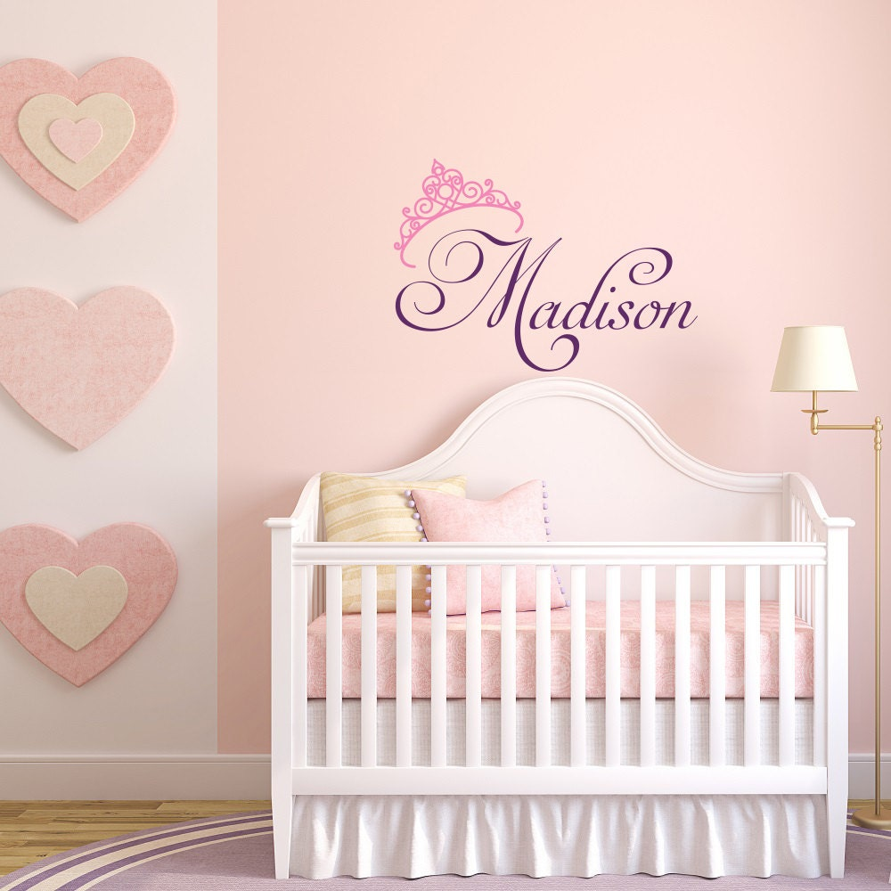 girls name wall decal princess wall decal personalized name. Black Bedroom Furniture Sets. Home Design Ideas