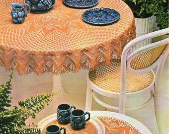 vintage knitted tablecloth coffee table mat doily Knitting pattern PDF lace tablecloth knitted lace doilies thread crochet cotton Download
