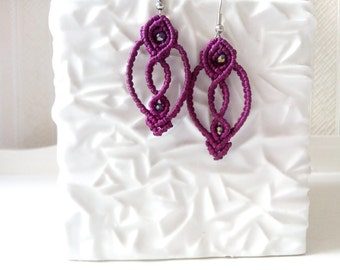 Macrame earrings, magenta purple, tribal earrings, boho jewelry, bohemian earrings, gift for her