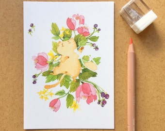 Postcard with cat illustration - drunk cat