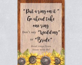 Put a ring on it / Don't say wedding / Bridal shower game / Sun flower / Rustic wooden / Watercolor / DIY Printable / INSTANT DOWNLOAD