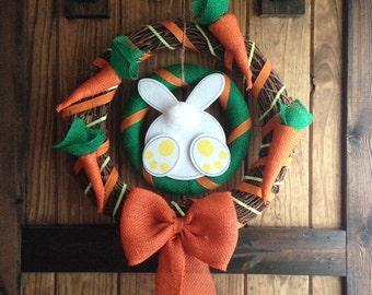 Easter Bunny Wreath, Carrot Wreath, Burlap Carrot Decor, Loveleigh Creations, Rabbit Wreath, Easter Bunny Decor, Easter Wreath, Spring Decor