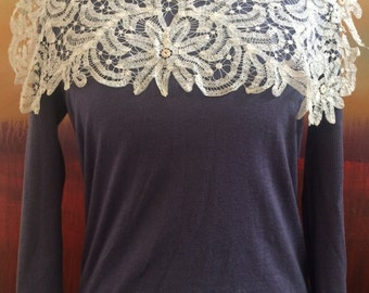 Amazing White Edwardian Lace Collar, Curved Lace Collar, Antique Lace