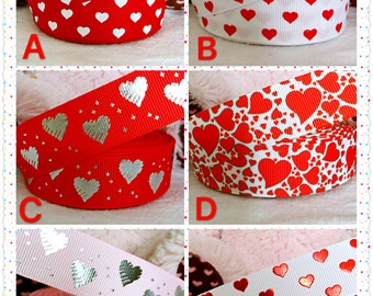 "3 yards 1"" Valentine ribbon, heart ribbon, Valentine hair bow ribbon, red heart ribbon, grosgrain ribbon, hair bow ribbon, red ribbon"