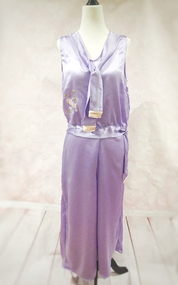 Vintage Inspired Nightgowns, Robes, Pajamas, Baby Dolls The Gloria- Art deco 1920s silk pink purple pyjamas pinup flapper loungewear sleepwear womens gift Valentines birthday bridal $209.57 AT vintagedancer.com
