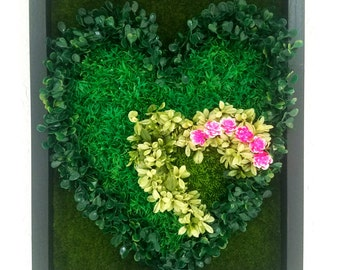 Heart with artificial plants