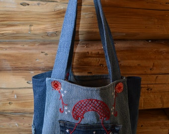 Denim Tote, Hand-stitched Denim Bag, Denim Tote with Pockets, HandTote w/ Red and White Stitching