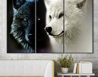 Two wolves, Black Wolf Canvas, white wolf canvas, black and white, a pair of wolves, wolves canvas, wolf print on canvas, wall decor