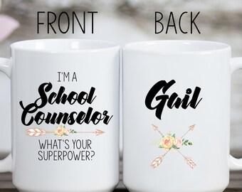 School Counselor Superpower Mug, School Counselor Mug, School Counselor Gift, Gift for School Counselor, School Counselor Cup, Counselor Mug