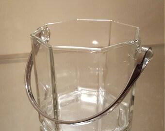 """Vintage Octagon Crystal Ice Bucket w/ 3.5"""" high Arc chrome handle"""
