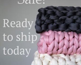 Sample Sale Chunky Knit Blanket, Merino Wool Blanket, Hand Knitted Blanket. 23 Micron Super Chunky Warm Blanket!