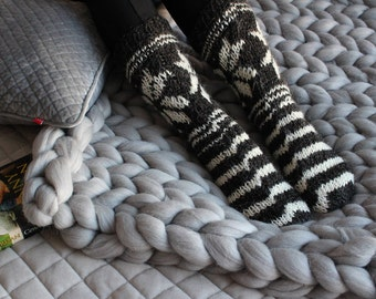 BLACK and WHITE short SOCKS, handmade socks, folk socks, knitted socks, sheep wool socks