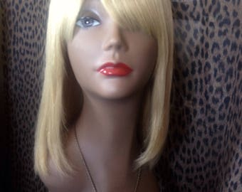 Long blonde bob silky human hair