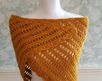 Versatile Light Weight Crochet Shawlette in a Golden Peanut Color, Crochet Wrap, Crochet Scarf