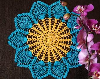 Crochet Doily Sunflower Home Decor Pineapple Doily Ukrainian Art Knit Flower Doily Bedroom Decor Table Decor Table Topper Table Centerpiece